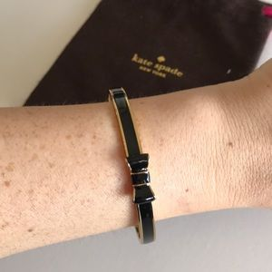 Kate Spade Bow Bangle Bracelet Black Gold